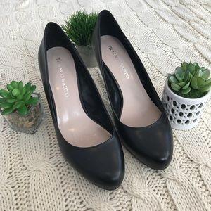 {Franco Sarto} Leather Black Heels Sz 9